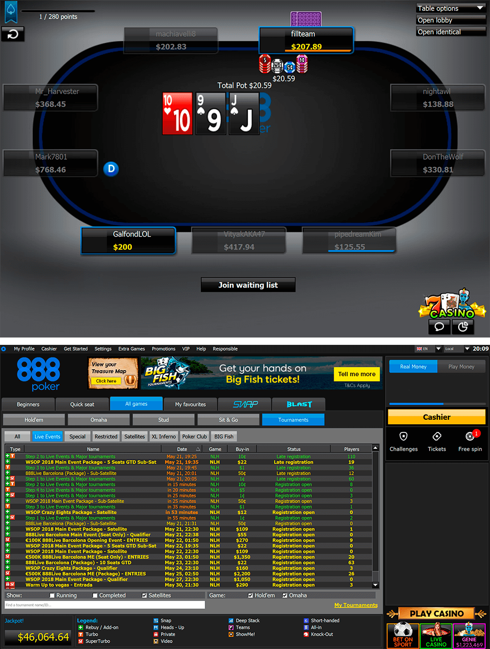 888poker table, 888 poker lobby