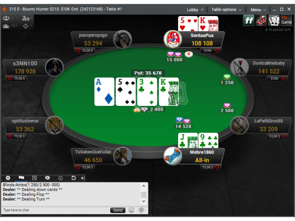 partypoker table